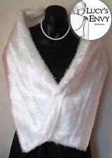 Australian Made White Faux Fur (Toy) Wrap Shawl Wedding by Lucy's Envy W102