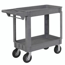 Small Deluxe 2 Shelf Plastic Utility Amp Service Cart 6 Pneumatic Casters 40l