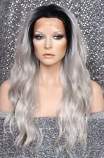 Full Lace Front WAVY LONG WIG Grey Futura HEAT SAFE WBYV NWT Hairpiece