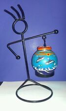 UNIQUE 3 Piece Metal Man Stick Figure Candle Holder (Includes Flameless Candle)