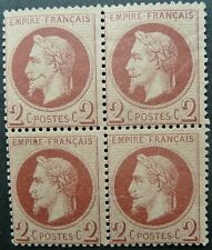 FRANCE 1863-70 NAPOLEON III 2c BROWN-RED BLOCK OF 4 STAMPS - MINT - SEE!