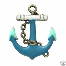 2 x Blue Enamel Bronze Plated Anchor Pendant Charms