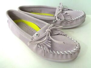 MINNETONKA US 8.5M Lilac Suede Indoor/Outdoor Moccasins Loafers w fringe Shoes