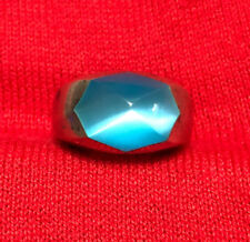 Sterling Silver 925 Blue Cat's Eye Signet Women's Ring Size 6