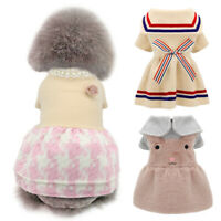 Dog Winter Clothes Puppy Girl Pet Warm Fleece Dress Jacket Pink Blue Gray