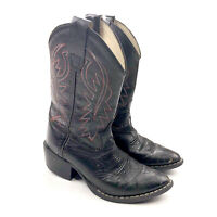 Old West Black Leather Cowboy Western Boots Youth Style 8110 Size 3.5
