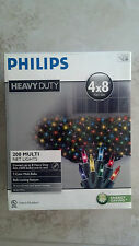 New - Outdoor Philips Heavy Duty 200 Multicolor Holiday Net Lights 4ft X 8 ft