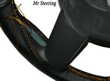FITS FORD TRANSIT MK7 06-10 BLACK LEATHER STEERING WHEEL COVER ORANGE STITCH