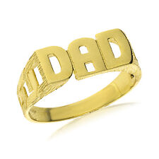 9CT GOLD SOLID DAD DADDY FATHER CURB LINK SIDE RING BAND GIFT BOX