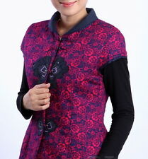 Women Chinese Traditional Style Cheong-sam Vest Cotton Red Purple Black