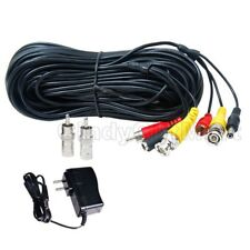 100 ft Audio Video HD Security Camera Cable CCTV Wire w/ 12V DC Power Supply wuy