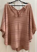 LC Lauren Conrad Womens Knit Poncho Shawl Sweater Pink Chiffon Ribbon Size S/M