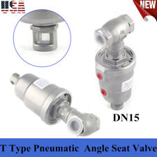 New ListingT Type Pneumatic Actuated Angle Seat Valve Steam Water Dryer Valve 360 Rotation