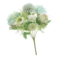 7-Head Artificial Silk Fake Flowers Peony Wedding Floral Bouquet White Green