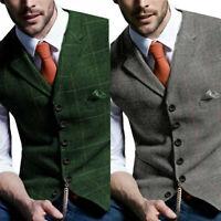 New Men Tweed Waistcoat Plaid Slim Fit Formal Wool Blend Herringbone Suit Vest