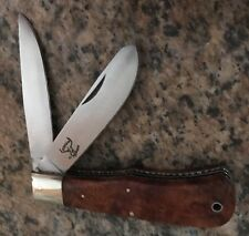 HAINES BEAUTIFUL CUSTOM KNIFE BURL WOOD & ATS34 TWO BLADE FOLDER