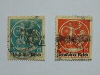 2 Marken Deutsches Reich Bayern Abschiedsserie Mi 134I & 135I, 1x Aufdruckfehler