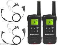 Paire Talkie-Walkie Motorola T60+Chargeurs Individuels+Écouteurs Transparentes