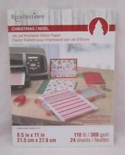 Recollections Christmas Noel Ink Jet Glitter Paper 8 1/2x11 24 Sheets 3 Colors
