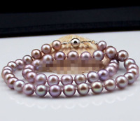 Rare 8mm Genuine Purple South Sea Shell Pearl Round Beads Necklace 18'' AAA