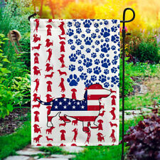 Dachshund Dog American 4th Of July Outdoor House Flag Independence Day Home .
