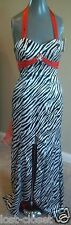 Wow Black White Zebra Red Trim Sweep Train Mermaid Formal Prom Dress Gown Size 2
