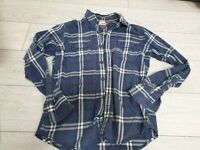 Tommy Hilfiger Shirt Denim Checked Blue White Long Sleeve Size M 100% Cotton