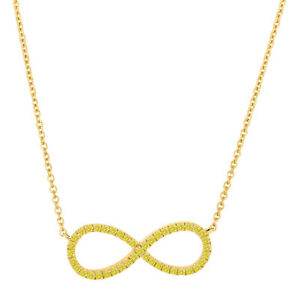 0.17ct. Yellow Diamond Infinity Pendant Necklace With Chain