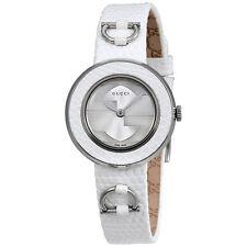 Gucci U-Play Silver Dial Leather Ladies Watch YA129515
