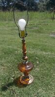 Mid Century Vintage Hollywood Regency Amber Glass Table Lamp