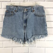 Vintage Women's Levi's 550 Relaxed Fit Cut Off Light Wash Denim Shorts 10