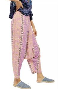 MED Free People Haley Harem Lounge Pants Boho Print Comfortable Bottoms MED BNWT
