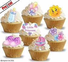 PRE-CUT LITTLE PRINCESS BABY GIRL EDIBLE WAFER PAPER CUP CAKE TOPPER DECORATIONS