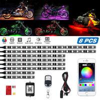 8x Motorcycle LED Glow Lights RGB Atmosphere Neon Strip Remote + APP Control Kit