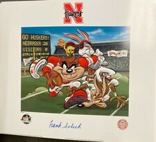 Looney Tunes Nebraska Huskers NCAA Taz Frank Solich Signed Photo Animation Litho