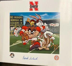 Looney Tunes Nebraska Huskers NCAA Taz Frank Solich Signed Photo Animation Litho