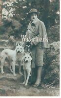 Woman with Dogs Beautiful Edwardian Real Photo Postcard Circa 1910