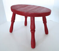 "Vintage Oval Stool Painted Red Wood 9"" Tall Taiwan Republic China 4 Legs"