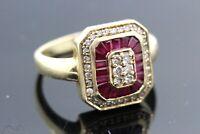 14k Yellow Gold Ruby & Diamond Ring 0.70 TCW G-H SI1-SI2 Size 8 6.0g   #30127
