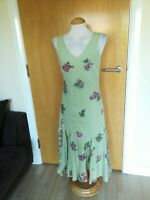 Ladies PER UNA Dress Size 12 Green Cotton Flared Party Evening Wedding Races