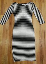 R D STYLE Black White Stripe Long Sleeve Rayon Calf Length Dress Small 45W032S