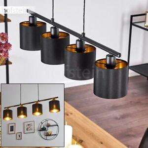 Hänge Leuchte Raum Pendel Lampe Schlaf Wohn Ess Zimmer Schwarz/Gold 4-flammig