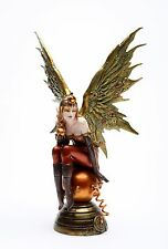 12 Inch Steampunk Fairy Sitting on Large Orbe Statue Figurine