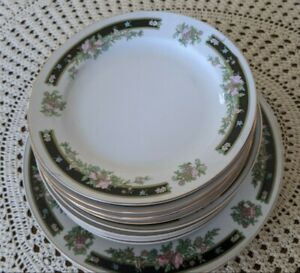 Dining Set of 6 Bowls & 5 Dinner Plates Off White Floral Shabby Chic Vintage
