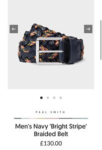 Paul Smith Men's Navy 'Bright Stripe' Braided Belt. Size 30