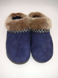 Womens Isotoner Smartzone Smart Zone Slippers Blue Brown Faux Fur 8.5 9 Slip On