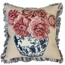 "18""x18"" Handmade Wool Needlepoint Ming Dynasty Jar Rose Pillow with Brush Fringe"
