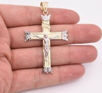 "2 3/8"" Jesus Crucifix Cross Diamond Cut Pendant Real Solid 10K Yellow White Gold"