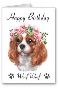Spaniel Dog Birthday Card I Woof You Flower Garland Watercolour Effect