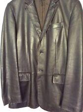 Z Zegna deep brown leather men's blazer  size S